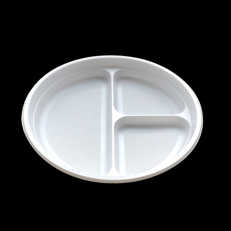 220 mm 3 Compartment Disposable Round Plastic Plate