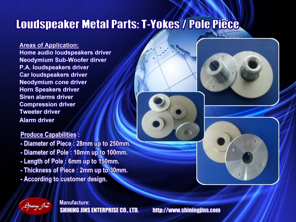 OEM ODM Speaker parts Top Plate and Pole Piece made in Taiwan