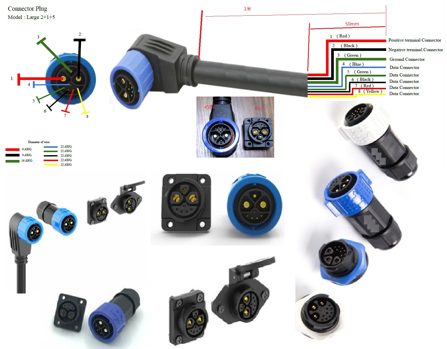 battery pack 2+4 connector 50A-80A Rated current bike charge connector